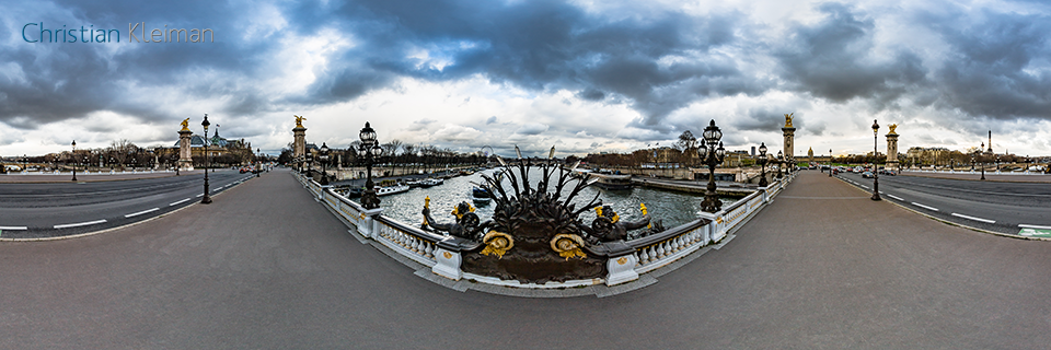 360 VR Photo at Alexandre III Bridge - Pont de Alexandre III - Seine River, Paris